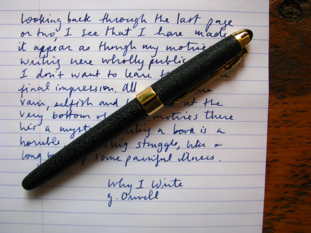 "George Orwell quote on ""Why I write"" Image source: Wonder Pens"