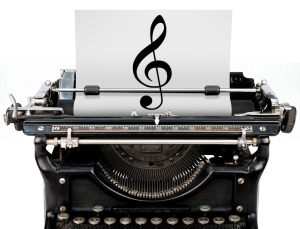 Music to write by - typewriter treble clef. Image source: Scores for Writers