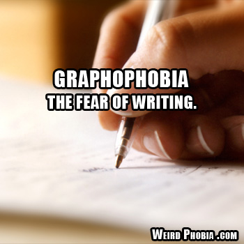 Graphophobia - fear of writing. Image source: WeirdPhobia.com