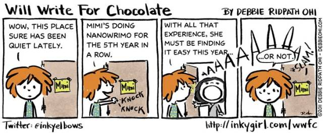 'Mimi Does NaNoWriMo' Image source: InkyGirl at http://inkygirl.com/wwfc/2011/11/9/mimi-does-nanowrimo.html