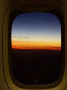 Sunrise over Japan at 5am as we flew home Image source: My camera