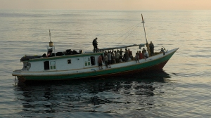 An asylum seeker boat stopped near Ashmore Reef Image source: World News Radio (Thea Cowie and Shalailah Medhora) via SBS
