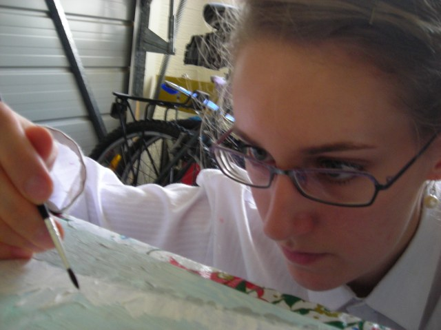 Me painting in 2011 during my 'A Year on Canvas' project.