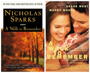 A Walk to Remember book and movie compared. Image source: Driver L blog