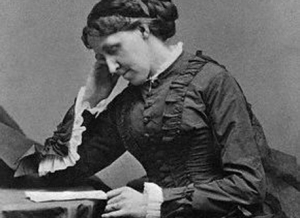 Louisa May Alcott. Love those sleeves, and the high neckline. Pretty and modest. Image source: Seeds of Success