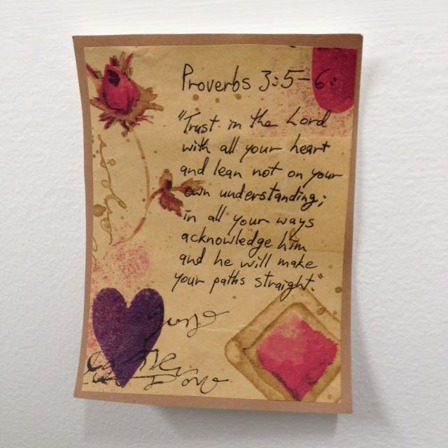 My life verse, decorated by me using old wrapping paper (I recycle!). Was stuck up on my wall at the office - now it's stuck on our wall at home, right next to the front door. Last thing I see when I'm heading out? God's reminder.