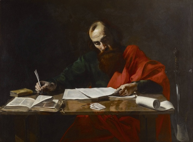 Painting attributed to Valentin de Boulogne: 'Saint Paul Writing His Epistles'