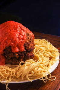 Cloudy with a chance of meatballs - meatloaf meatball spaghetti - Image source: Food in Literature