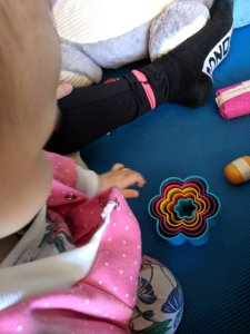 DIY Baby sensory toy Baby Zoe with cookie cutters